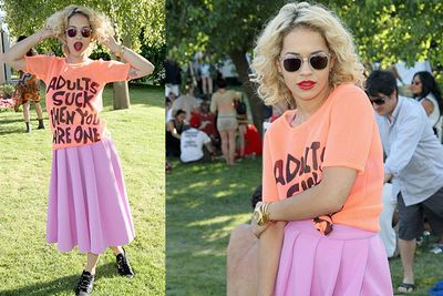 Singer Rita Ora strikes a pose at Coachella's LACOSTE L!VE 4th Annual Desert Pool Party.