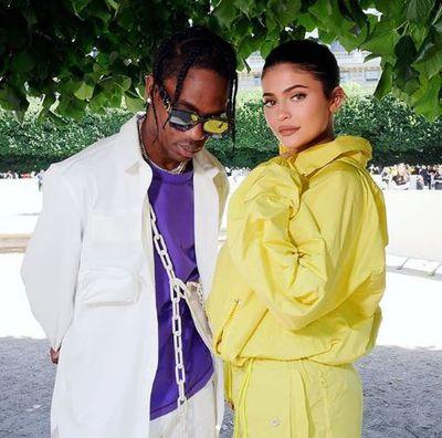 Kylie Jenner and Travis Scott at Louis Vuitton Menswear Show in Paris, June 2018