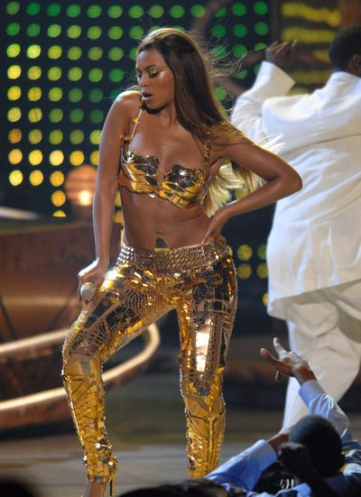 <p>2007: At last, the warrior queen and gladiatrix of glamour appears on stage at the BET Awards to perform Get Me Bodied.</p> <p>There&rsquo;s a reason why Beyonc&eacute; looks like a million dollars here and it has to do with those $100,000 gold Balenciaga leggings.</p> <p>From here on in there was no going back to Tina Knowles&rsquo; creations.</p>