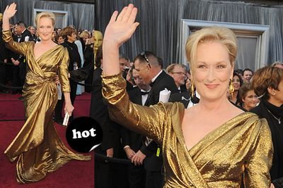 """If anyone's allowed to come to the Oscars dressed as an <i>actual</i> Oscar, it's 17-time nominee Meryl Streep.<br/><br/>Spoiler alert! <a href=""""http://yourmovies.com.au/article/oscars2012/8425037/oscars-2012-moviefixs-live-results-blog"""">Head over to MovieFIX to find out who won...</a>"""