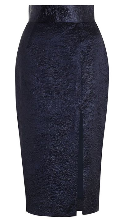 "<p>A well cut pencil skirt moves from office to wine bar with ease.</p><a href=""http://www.zimmermannwear.com/the-latest/esplanade-crush-pencil-skirt-french-navy.html"" target=""_blank"">Skirt, $395, Zimmermann</a>"