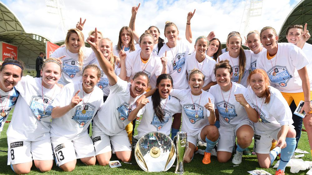 Melbourne City celebrate winning the W-League. (AAP)