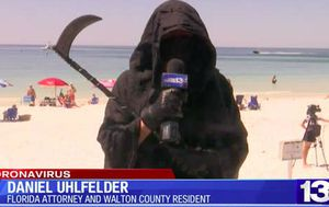 Coronavirus: Florida man dressed as 'Grim Reaper' protests beaches re-opening as bizarre TV interview goes viral
