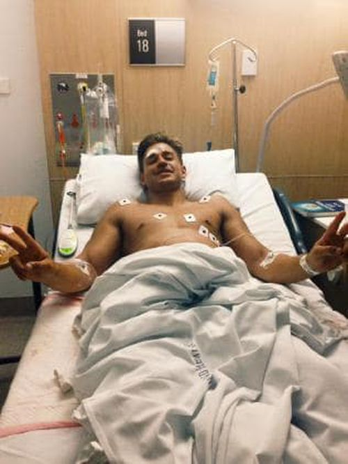 Sam Wallace recovering in hospital in 2015.