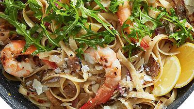 "Recipe:&nbsp;<a href=""http://kitchen.nine.com.au/2016/05/05/12/46/prawn-and-black-truffle-pasta"" target=""_top"">Prawn and black truffle pasta</a>"
