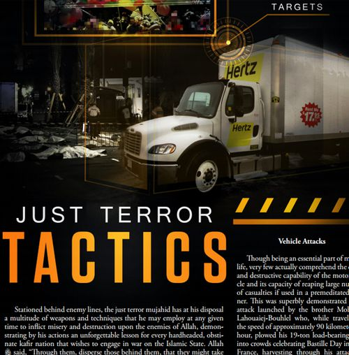 A back issue of Rumiyah, the online magazine of Islamic State, explains how supporters can use vehicles to launch terror attacks. Source: Supplied