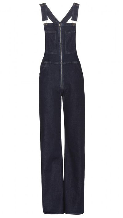 <p>Two of the season's funnest trends - the '70s redux and denim overalls - come together in this wide-leg pair, which has a modest cut that's perfect for fuller figures.</p>
