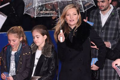 Supermodel Kate Moss brought along daughter Lila Grace, 12, and a friend.