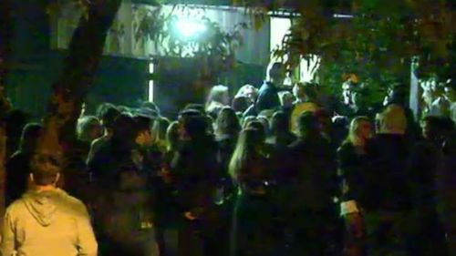 Police clashed with youths at Scout Hall. (9NEWS)