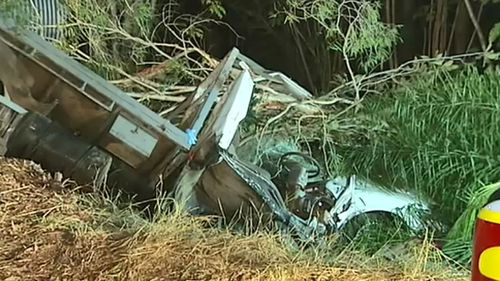 A man was cut from a truck after it careered down an embankment.