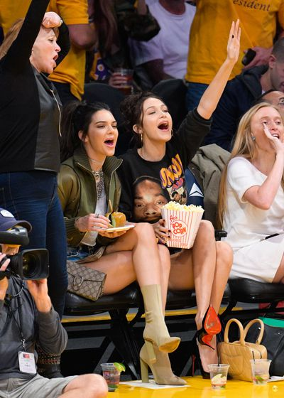 Kendall Jenner and Bella Hadid attend a basketball game between the Dallas Mavericks and the Los Angeles Lakers at Staples Center on November 8, 2016 in Los Angeles, California.