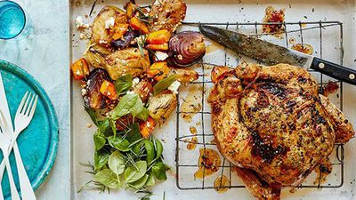 "Recipe:&nbsp;<a href=""http://kitchen.nine.com.au/2016/08/10/11/54/dan-churchills-roast-chicken-and-fruity-sides"" target=""_top"">Dan Churchill's roast chicken with fruit and veg side</a>"