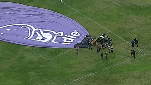Hot air balloon makes unusual landing in Melbourne cricket field