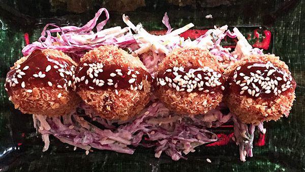 Tokyo Tina's tonkatsu pork croquettes with coleslaw