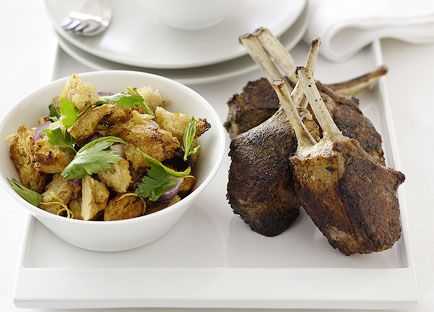 Baharat lamb with warm bread and herb salad