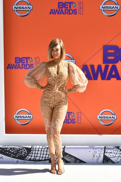 Model and TV host Tyra Banks inStelloat the 2018 BET Awards