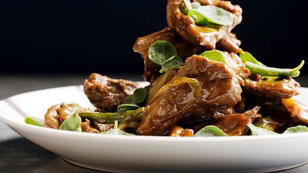 Lotus' wok-fried wallaby rump with sweet bean paste and salt bush