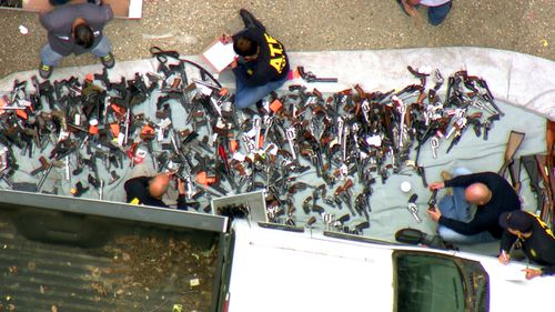 A search warrant was served around 4am near the Playboy Mansion in LA. More than a thousand guns were seized.