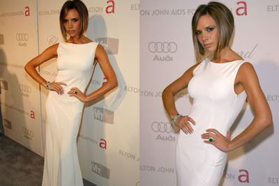 It's all white on the night! <br/><br/>VB slinks down the 15th Annual AIDS Foundation red carpet in a white gown that gets our high-fash tick of approval.