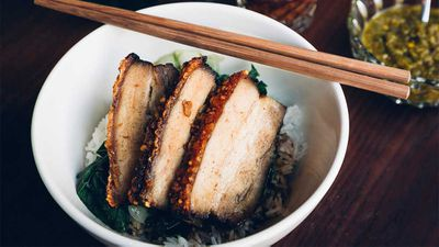"Recipe: <a href=""https://kitchen.nine.com.au/2017/11/08/14/02/chinese-roast-pork-belly"" target=""_top"">DUK's Chinese roast pork belly</a>"