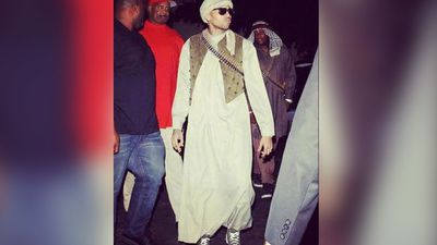 <b>Terrorist:</b> In 2012, rapper Chris Brown was criticised for dressing up as a terrorist for a Halloween party. There are dozens of costumes available online for anyone wanting to dress up as Osama Bin Laden. (Picture: Twitter)