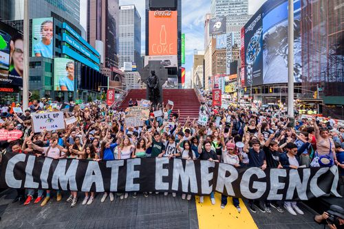 Hundreds of New York City climate change activists gathered last week for a rally followed by a march at Times Square. Scientists say climate change is responsible for the more intense and more frequent extreme weather.
