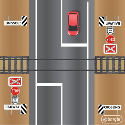 How would you proceed at a railway crossing?