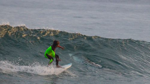 Ten-year-old Eden Hasson rode over a great white shark in NSW. (Facebook/Chris Hasson)