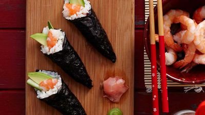 """<strong><a href=""""http://kitchen.nine.com.au/2016/05/16/16/03/sushi-hand-rolls"""" target=""""_top"""">Sushi hand rolls</a> recipe</strong>"""