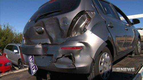 The teacher was driving along Hepburn Avenue when she was hit from behind by another car. (9NEWS)