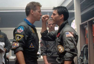 Val Kilmer, Tom Cruise, Top Gun, movie, set