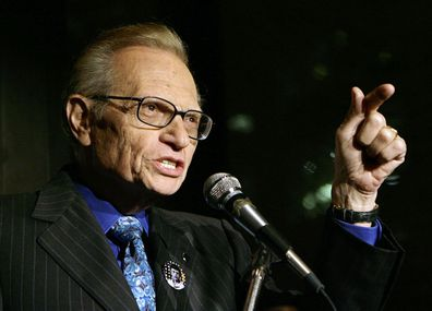 Larry King speaks to guests at a party held by CNN, celebrating King's fifty years of broadcasting in New York (Photo: April 18, 2007)
