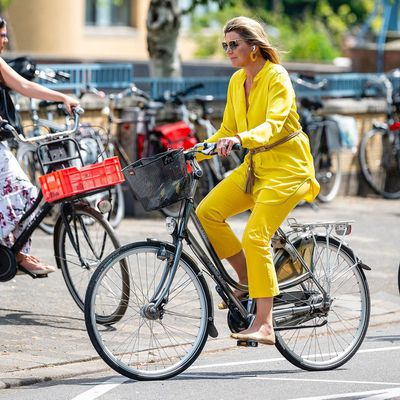 Queen Maxima rides to work, June 2020