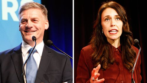 New Zealand's Prime Minister Bill English and Labour Party leader Jacinda Ardern both talking to their supporters after the election results in Auckland, New Zealand. (AAP)