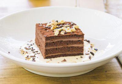 Chocolate, cherry and walnut cake