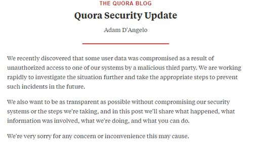 """Quora said in a statement: """"It is our responsibility to make sure things like this don't happen, and we failed to meet that responsibility."""