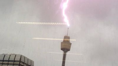 Sydney's Centrepoint Tower was struck by lightning. (Simon Chappell)