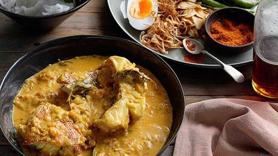 Burmese-style fish curry with noodles, mustard greens and duck eggs