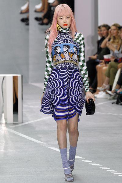 """<a href=""""http://honey.nine.com.au/2016/09/07/14/34/australian-models-new-faces-fashion-week"""" target=""""_blank"""">Fernanda Ly</a> in&nbsp;Mary Katrantzou,<br /> spring/summer '17<br /> London Fashion Week"""