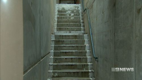 The CBD apartment block stairwell where Ms Ahmad was found face down in a pool of blood. Picture: 9NEWS