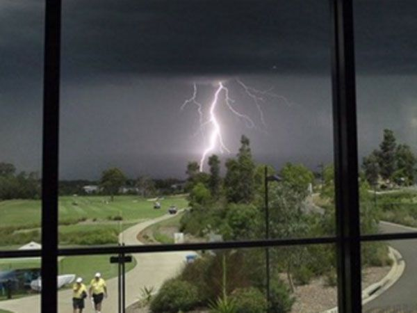 Lightning strikes over the Stonecutters Ridge Golf Club. (Twitter)