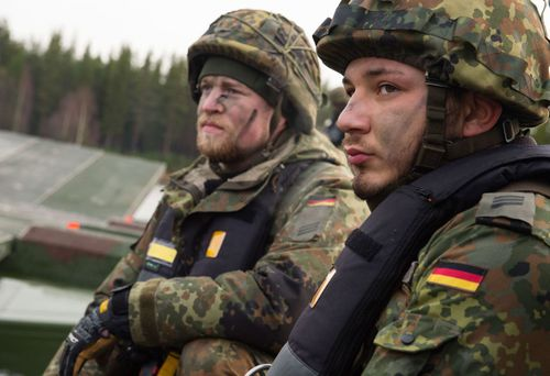 German infantry soldiers prepare for the NATO military drills in Scandanavia.