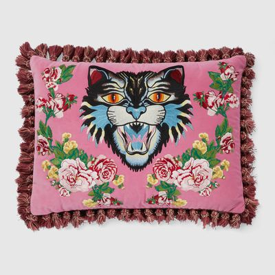 Velvet cushion with Angry Cat embroidery, $2,415