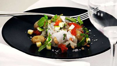 "Recipe: <a href=""http://kitchen.nine.com.au/2016/05/16/12/18/kingfish-ceviche-with-salted-grapes-zucchini-and-verjuice-dressing"" target=""_top"">Kingfish ceviche with salted grapes, zucchini and verjuice dressing</a>"