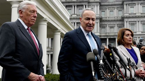 Senior Democrat figures address the media after meeting with US President Donald Trump to discuss the government shutdown.