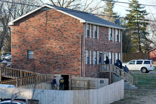 FBI and ATF agents search a home  in Nashville, Tennessee.