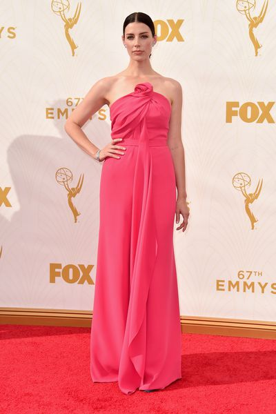 Jessica Pare in a Monse gown, Christian Louboutin shoes and Fred Leighton jewels.