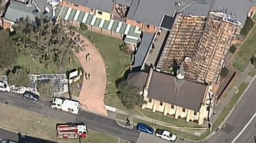 Powerful winds have torn the roof off an aged care facility in Stockton.