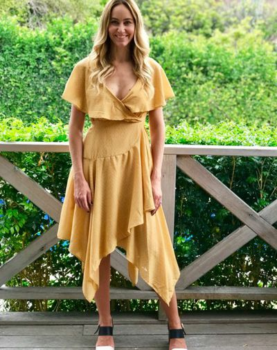 """<a href=""""https://www.thestylecantina.com.au/product/penelope-dress-mustard-2/"""" target=""""_blank"""" draggable=""""false"""">Style Cantina penelope dress</a>, $69.95"""