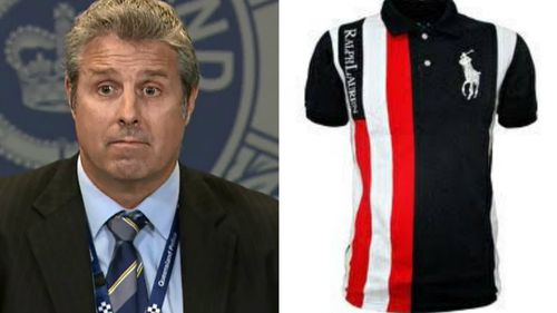 Detective Inspector Chris Toohey (left) said police are looking for this shirt (right) and other unspecified items of clothing.